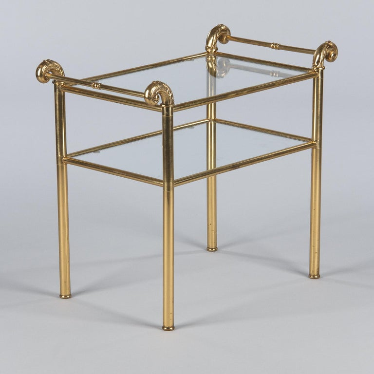 Mid-Century Modern French Mid-Century Brass Side Table with Glass Tops For Sale