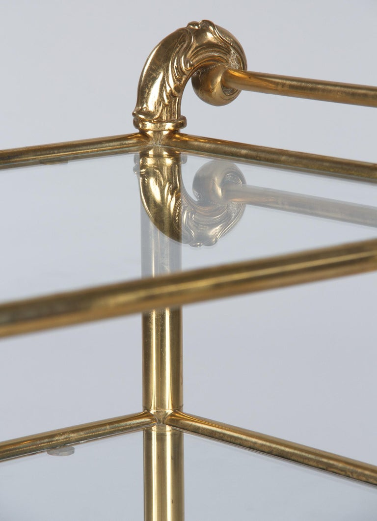 20th Century French Mid-Century Brass Side Table with Glass Tops For Sale