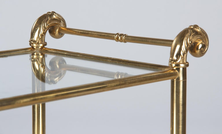 French Mid-Century Brass Side Table with Glass Tops For Sale 1