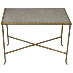 French Midcentury Bronze and Textured Mirror Side Table by Baguès