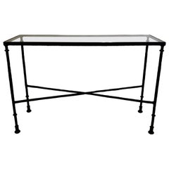 French Mid-Century Bronzed Wrought Iron Console in Style of Jean-Michel Frank