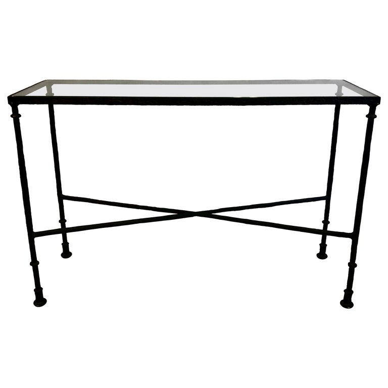 French Mid-Century Bronzed Wrought Iron Console in Style of Jean-Michel Frank For Sale