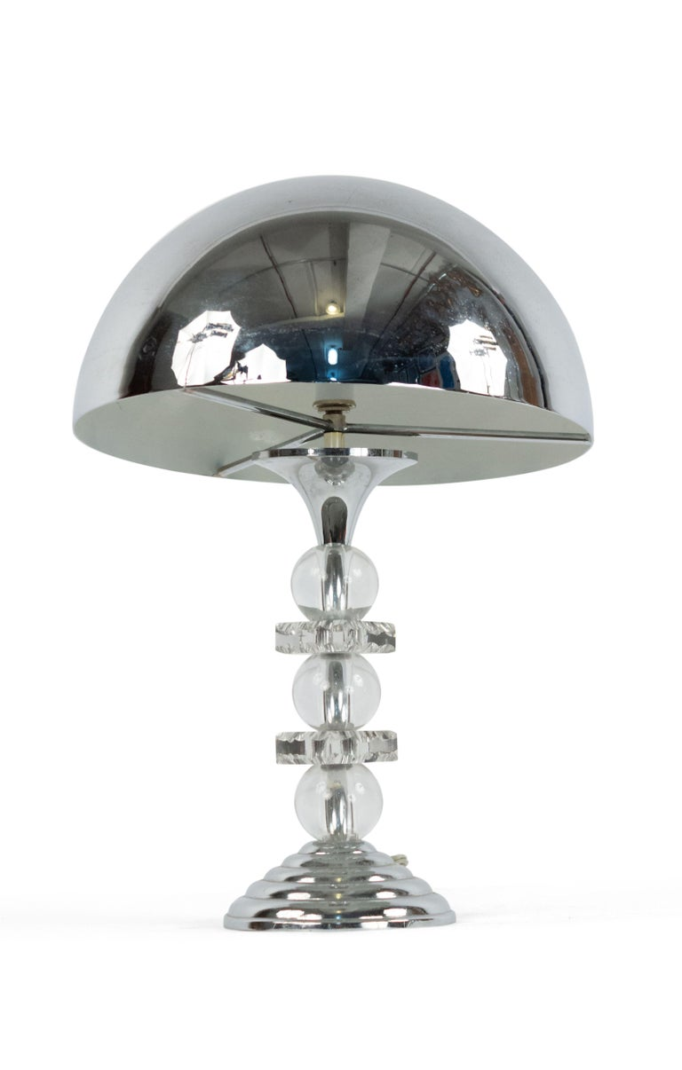 French 1940s table lamp with chrome dome shaped shade and base between alternating 3 large glass balls and 2 squares.