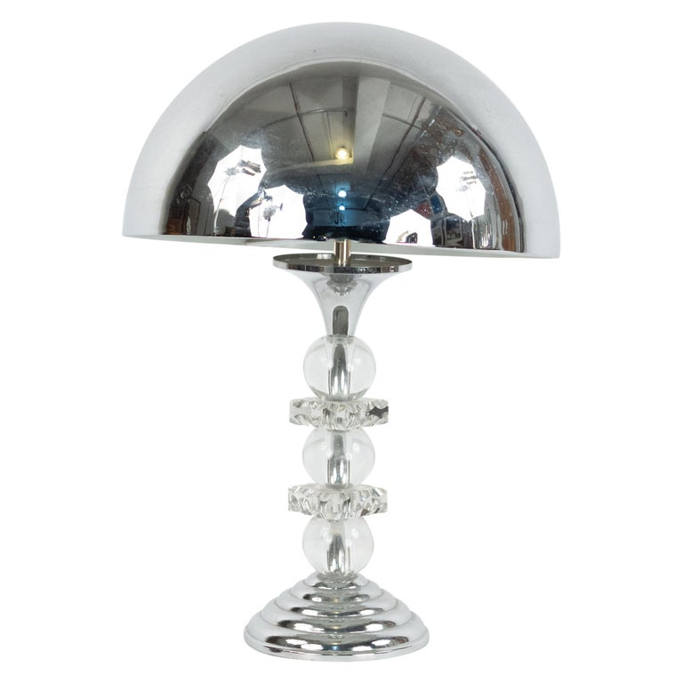 French Midcentury Chrome and Glass Table Lamp For Sale