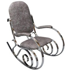 French Midcentury Chrome Rocking Chair by Maison Jansen