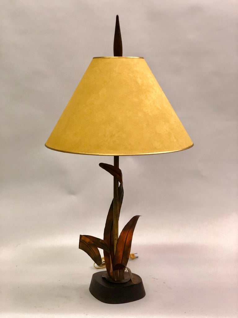 Mid-Century Modern French Midcentury Copper, Bronze and Brass Floral Table Lamp by Maison Charles For Sale