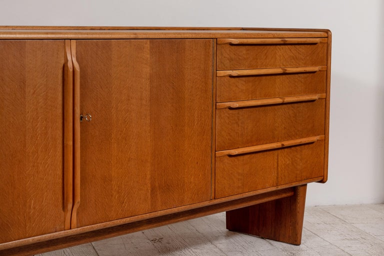 Oak French Midcentury Credenza with Plinth Legs
