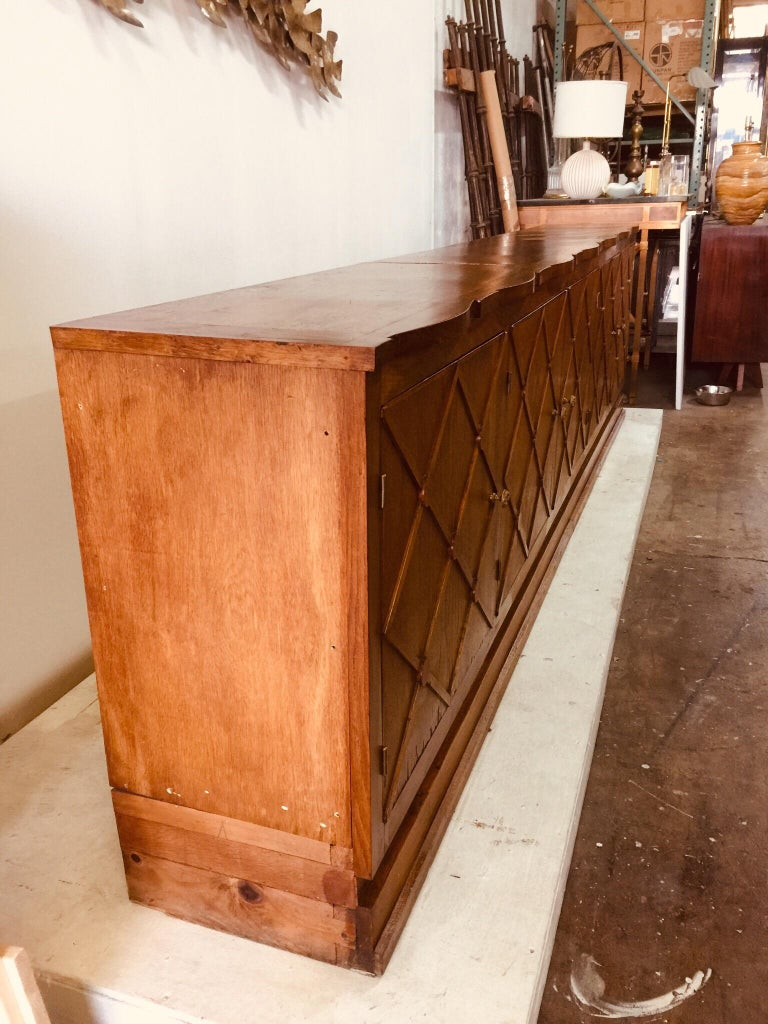 "French Midcentury ""Croissilon"" Lattice Front Oversized Sideboard For Sale 2"