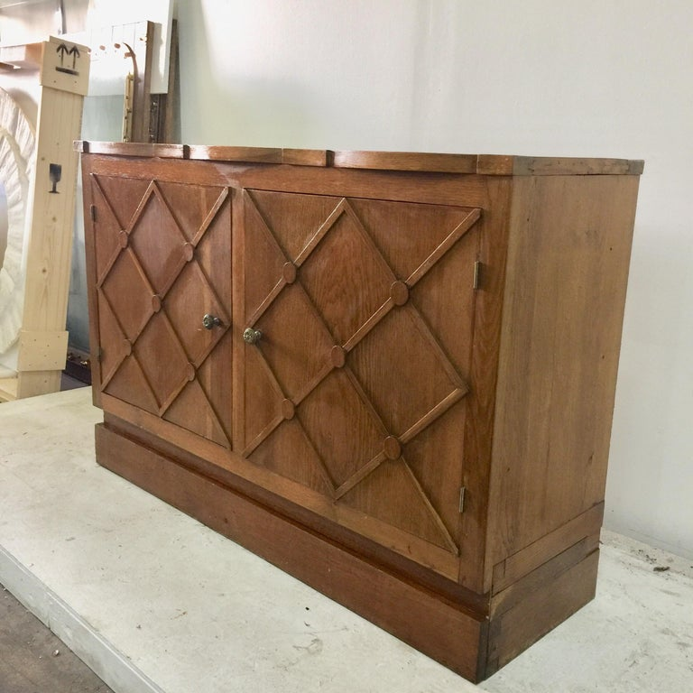"""Brass French Midcentury """"Croissilon"""" Lattice Front Sideboard For Sale"""