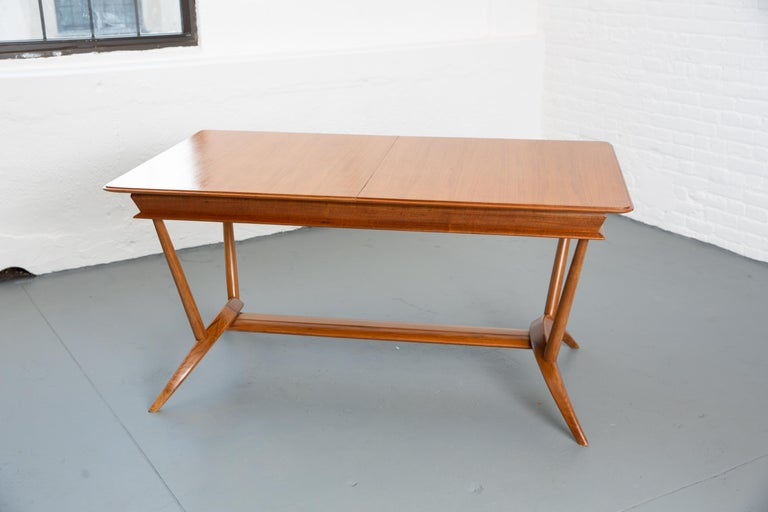 French Mid-Century Dining Table/Desk with Leaf For Sale 4