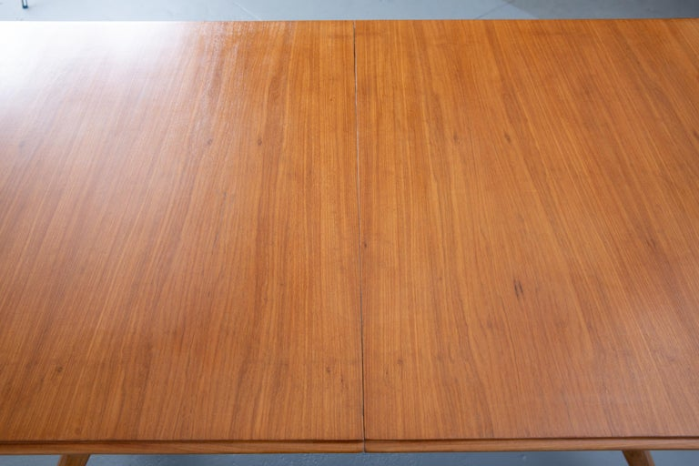 French Mid-Century Dining Table/Desk with Leaf In Good Condition For Sale In New York, NY