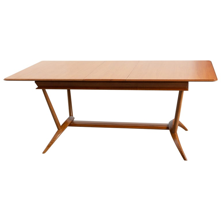 French Mid-Century Dining Table/Desk with Leaf For Sale