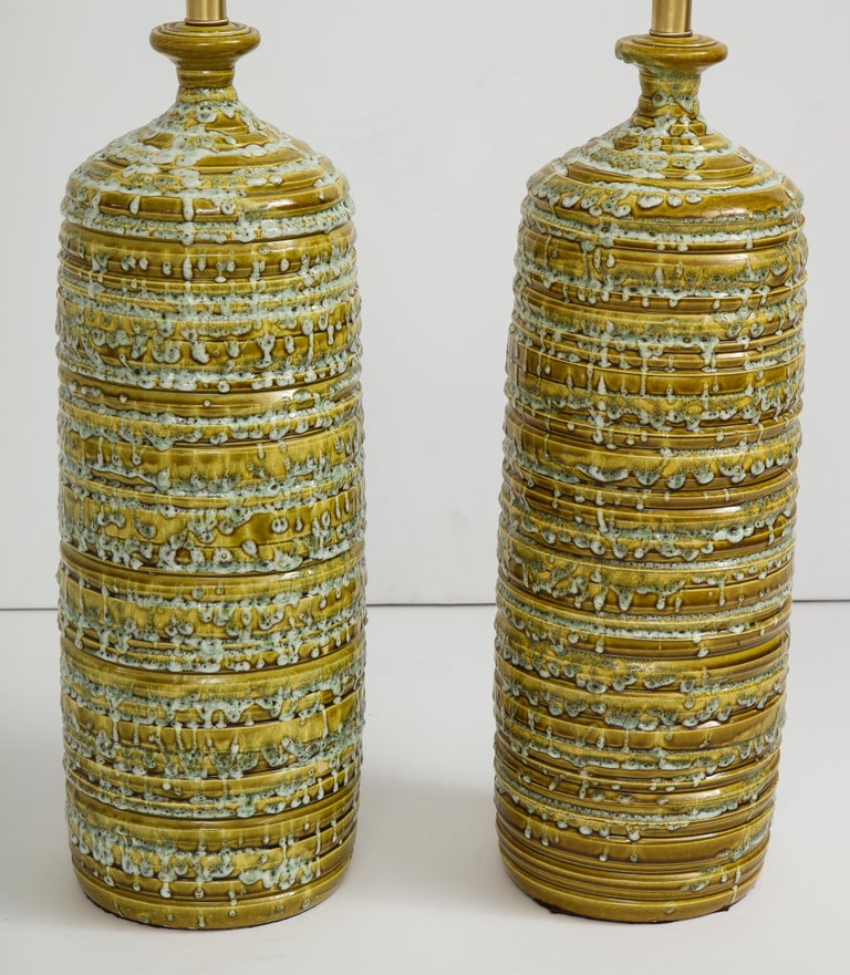 20th Century French Midcentury Drip Glaze Ceramic Lamps For Sale