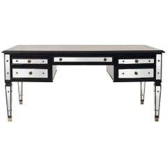French Mid-Century Ebonized and Mirrored Desk, by Maison Jansen