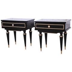 French Midcentury Ebonized Wood and Brass Nightstands or End Tables, Pair