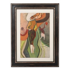 French Mid-Century Expressionist Gouache-Painting Green-Amber by Francois Villon