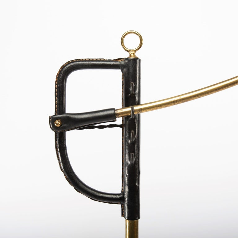 Mid-Century Modern French Midcentury Floor Lamp Jacques Adnet, Steel, Black Leather, Brass For Sale