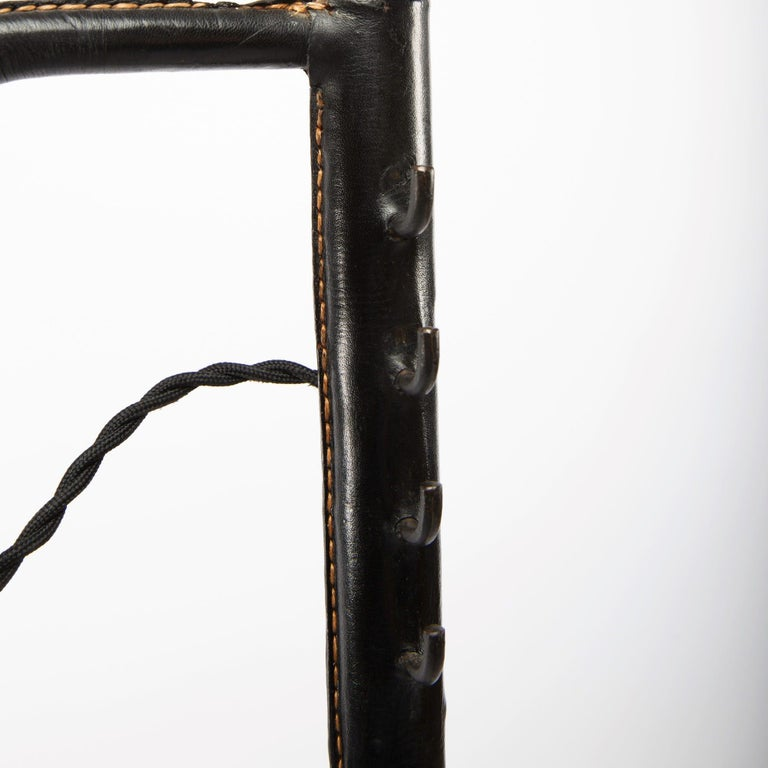 French Midcentury Floor Lamp Jacques Adnet, Steel, Black Leather, Brass In Good Condition For Sale In Brussels, BE