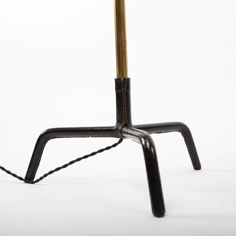 Mid-20th Century French Midcentury Floor Lamp Jacques Adnet, Steel, Black Leather, Brass For Sale