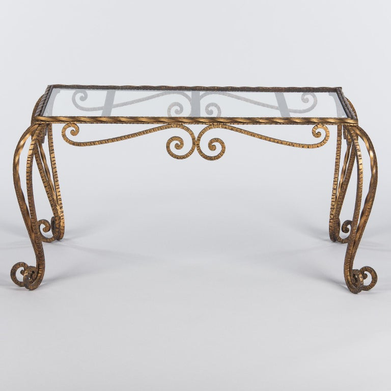French Midcentury Gilded Metal Coffee Table with Glass Top, 1940s For Sale 10