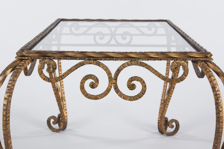 French Midcentury Gilded Metal Coffee Table with Glass Top, 1940s For Sale 2