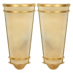 French Mid-Century Gilt Metal and Glass Wall Sconces