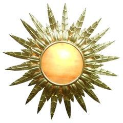 French Midcentury Gilt Metal Sunburst Ceiling Light
