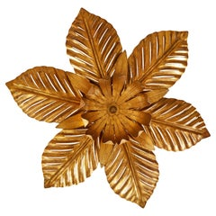 French Mid-Century Gold Palm Leaf Ceiling Pendant