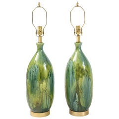 French Midcentury Green, Blue Ceramic Lamps