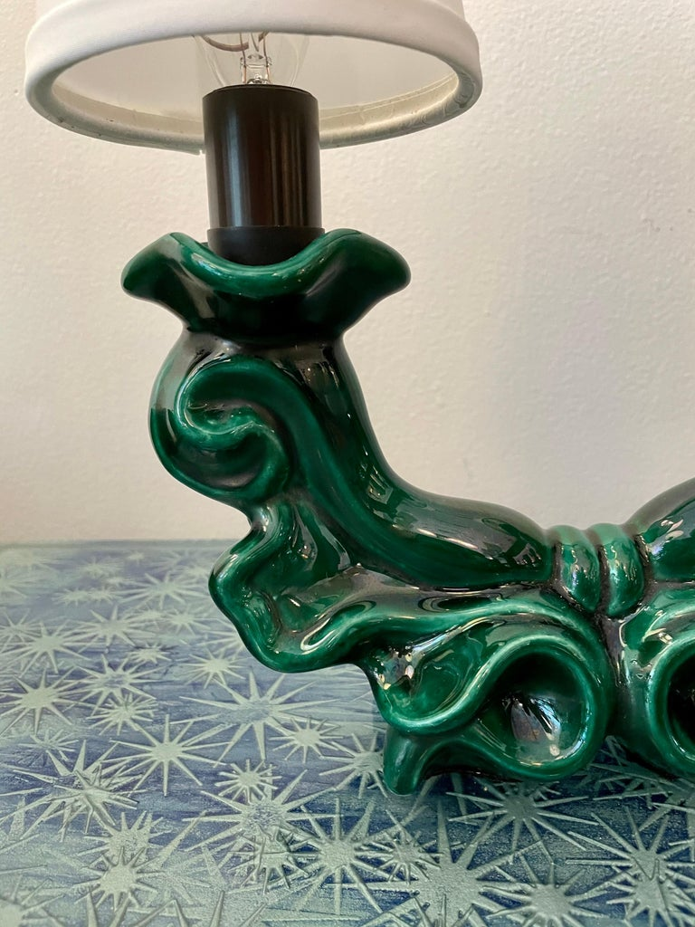 Mid-20th Century French Mid-Century Green Ceramic Table Lamps, Pair For Sale