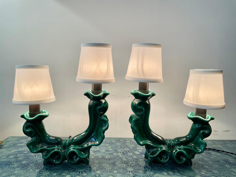 French Mid-Century Green Ceramic Table Lamps, Pair For Sale 2