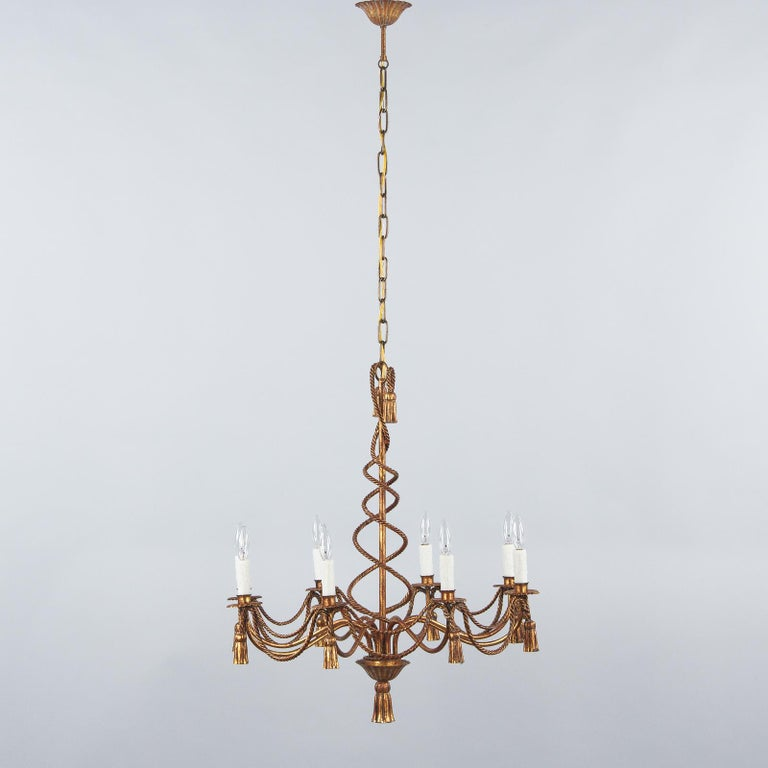 French Midcentury Louis XVI Style Gilded Metal 8-Light Chandelier For Sale 8