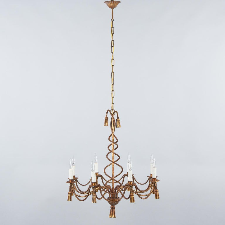 French Midcentury Louis XVI Style Gilded Metal 8-Light Chandelier For Sale 9