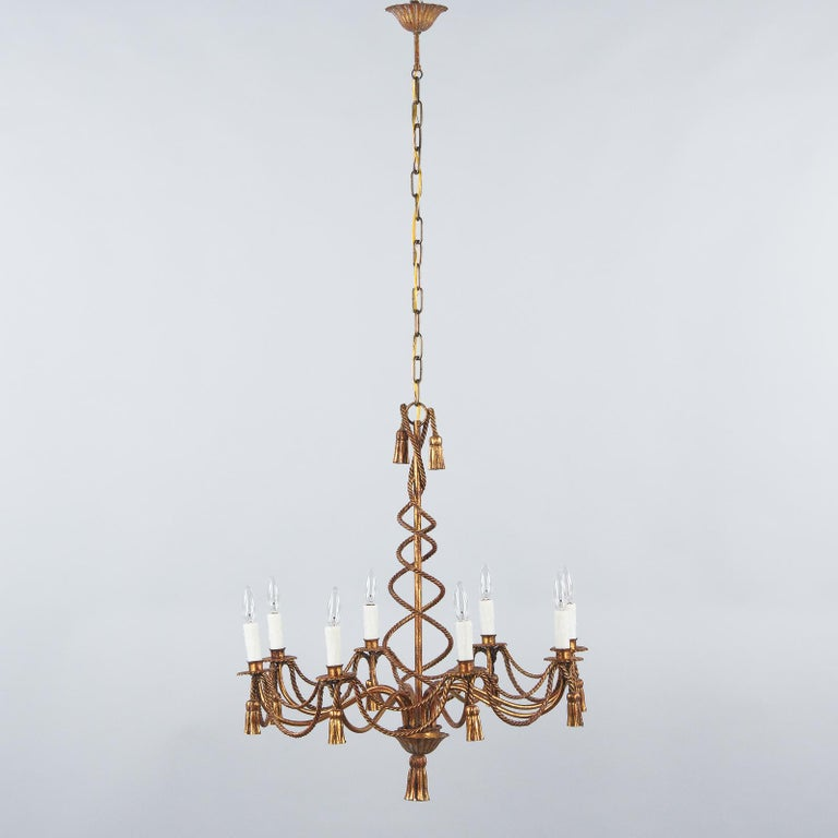 Gilt French Midcentury Louis XVI Style Gilded Metal 8-Light Chandelier For Sale