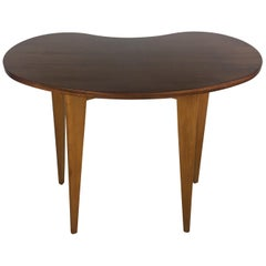 French Organic Modern Mahogany Kidney Shaped End or Side Table