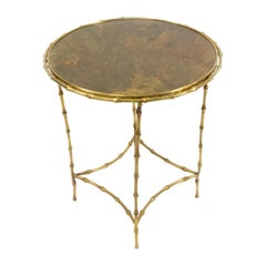 French Midcentury Maison Baguès Brass End Table