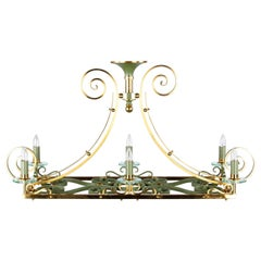 French Midcentury Metal and Brass Chandelier, 1950s