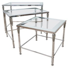 French Midcentury Metal and Glass Nest of Side Tables