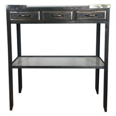Midcentury industrial French milk glass topped metal console/side table