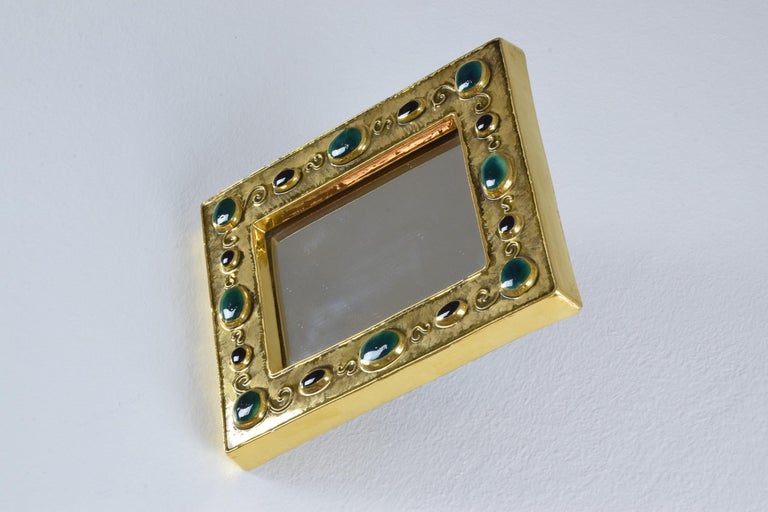 French Midcentury Ceramic Mirror Frame by François Lembo, 1960s For Sale 6