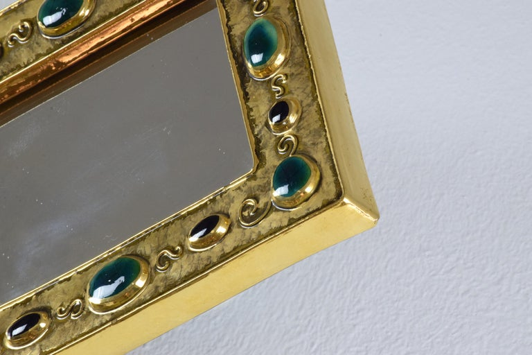 French Midcentury Ceramic Mirror Frame by François Lembo, 1960s For Sale 7