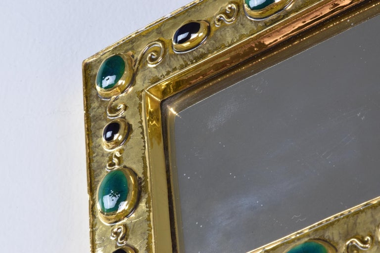 French Midcentury Ceramic Mirror Frame by François Lembo, 1960s For Sale 8
