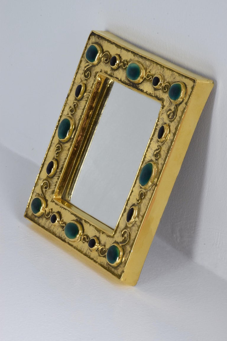 Mid-Century Modern French Midcentury Ceramic Mirror Frame by François Lembo, 1960s For Sale