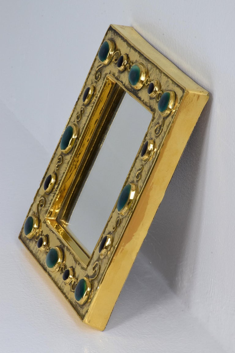 Enameled French Midcentury Ceramic Mirror Frame by François Lembo, 1960s For Sale