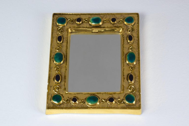 French Midcentury Ceramic Mirror Frame by François Lembo, 1960s In Good Condition For Sale In Paris, FR