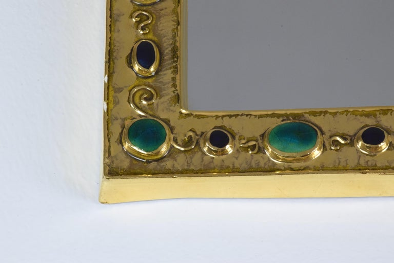 20th Century French Midcentury Ceramic Mirror Frame by François Lembo, 1960s For Sale