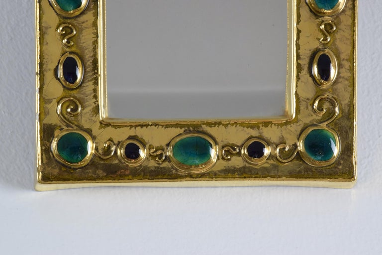 French Midcentury Ceramic Mirror Frame by François Lembo, 1960s For Sale 2