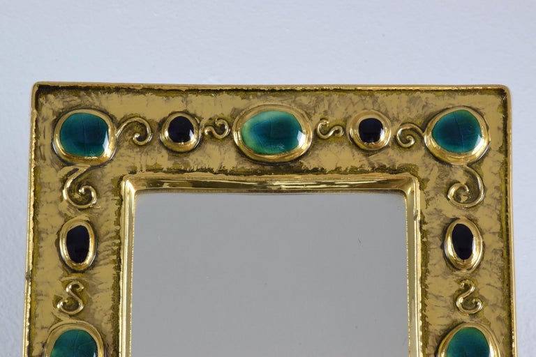 French Midcentury Ceramic Mirror Frame by François Lembo, 1960s For Sale 3