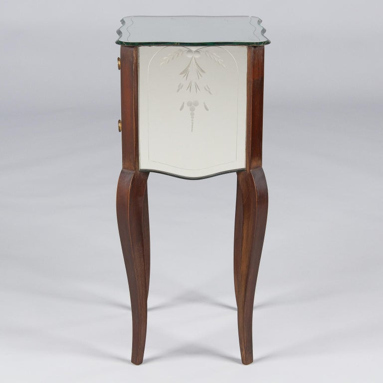 French Mid-Century Mirrored Venetian Glass Two-Drawer Chest, 1950s For Sale 8