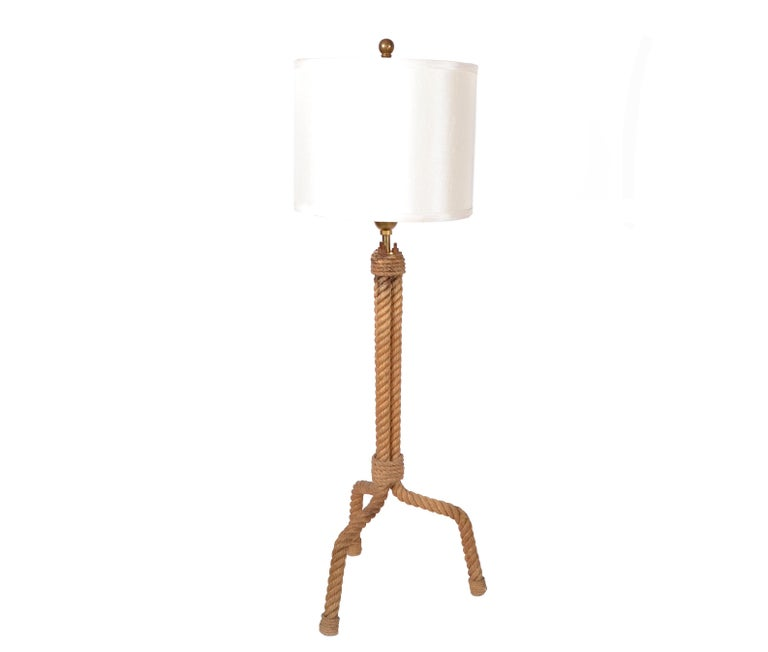 French Mid-Century Modern Audoux Minet Rope Table Lamp For Sale 4